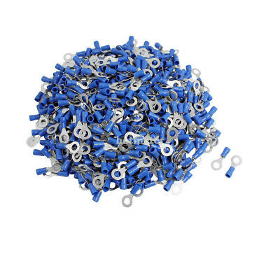 1000 Pcs RV2-5S AWG 16-14 Blue PVC Sleeve Pre Insulated Ring Terminals Connector