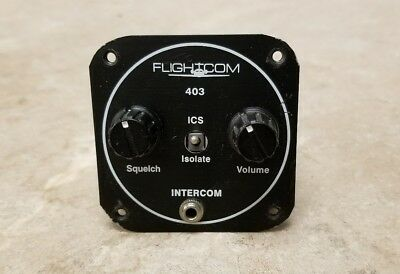 Flightcom 4 Place Intercom Model 403MC Panel Mounted P/N:101-0263-00 W/Connector