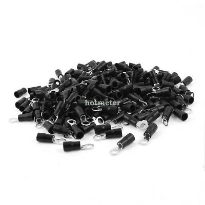 500Pcs RVS3.5-5 Black Pre Insulated Ring Terminals for AWG 14-12 Wire 37A 24.5mm