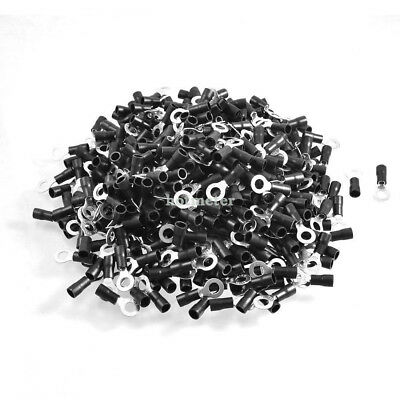 500 Pcs RV3.5-6 A.W.G 14 -12 Black Sleeve Pre Insulated Ring Terminals Connector