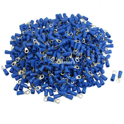 1000 Pcs RV2-4S AWG 16-14 Blue PVC Sleeve Pre Insulated Ring Terminals Connector