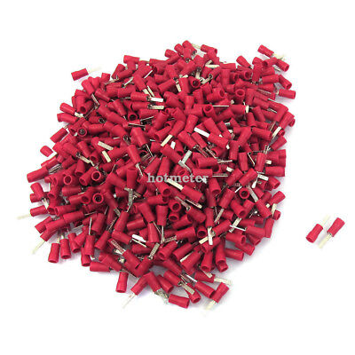 1000 Pcs DBV1.25-10 22-16 A.W.G Red PVC Sleeve Insulated Pin Terminals Connector