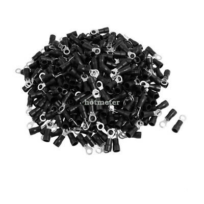 500 Pcs RV3.5-4 A.W.G 14 -12 Black Sleeve Pre Insulated Ring Terminals Connector