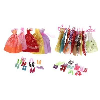 17Pcs Dolls Skirts & 12Pcs Hangers and 22 Pairs Dolls Shoes for Barbie Dolls