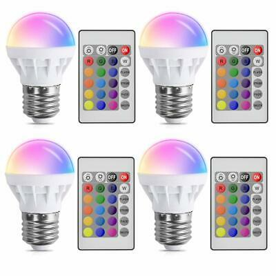4Pcs E27 16 Colors Dimmable 3W RGB LED Light Bulb IR Remote for Party KTV Club