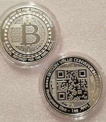 Bitcoin 1 oz .999 fine Solid silver commemorative NEW! Value conversion QR code