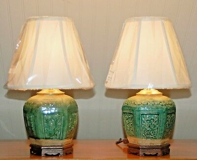 Chinese GINGER JAR LAMPS  PAIR Tea Jar Caddy Green Monochrome Canton