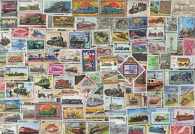 500 TRAINS & RAILWAYS Stamps  All Different (c80)