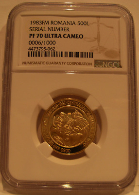 Romania 1983 FM Gold 500 Lei NGC PF-70UC Serial Number 0006/1000