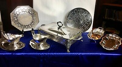 Sheffield Silver-plate Serving and Tableware LOT: 9 Pieces