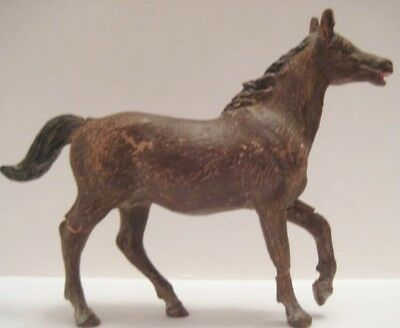 Old German Composition Large Running Horse for Christmas Putz Farm Village