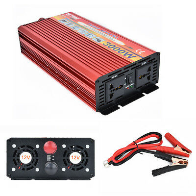 Car Portable 3000W Max Power Inverter Converter Charger DC 12V AC 110V USB Smart