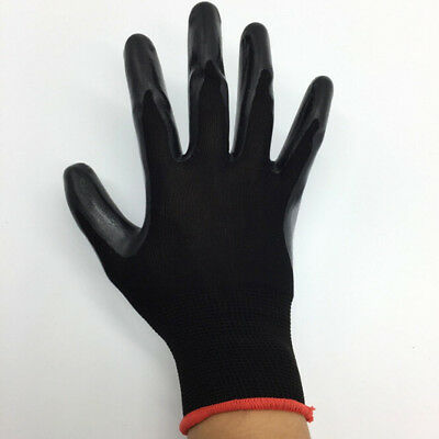 1Pair Nitrile Coated Working Gloves Nylon Safety Labour Factory Garden Repair