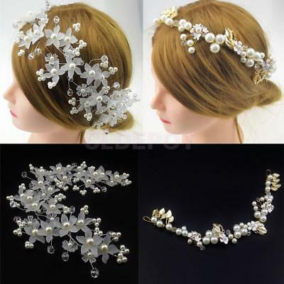 Flower Leaves Pearls Bridal Hair Vine Hair Wreath Wedding Party Headpiece Crown