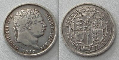 Collectable 1817 George III Shilling - Crown Shield & Garter - Milled Edge