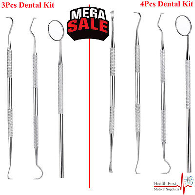 Pro DENTAL 3 & 4 PIECE SCALERS Probe Pick SET + Mouth Mirror STEEL Tool KIT