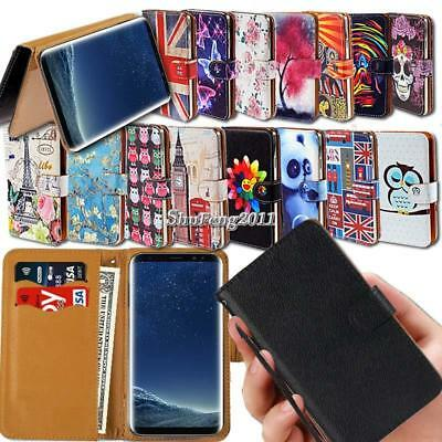 Leather Wallet Stand Magnetic Flip Case Cover For Samsung Galaxy S6 S7 S8 Phones