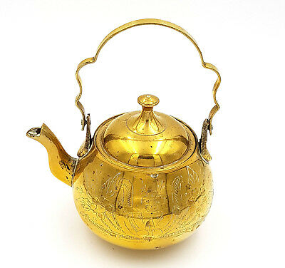Vintage Solid Brass Tin Lined Small Lidded Teapot Ornate Floral Longer Handle