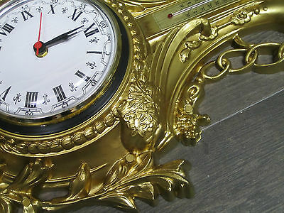 Wall Clock Swan in Gold with Thermometer 38x65cm Baroque Repro Quartz Watch