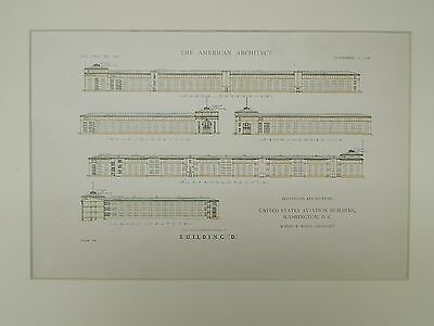 Elevations & Sections, Aviation Building, Washington, DC, 1918, Original Plan