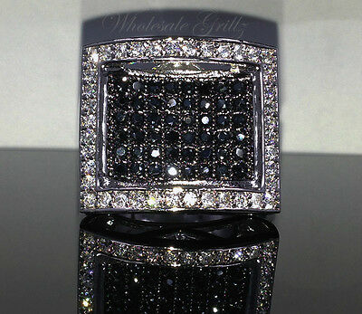 NEW! $150 Mens 14k White Gold Gp Simulated BLACK Diamond PAVE Hip Hop Pinky Ring