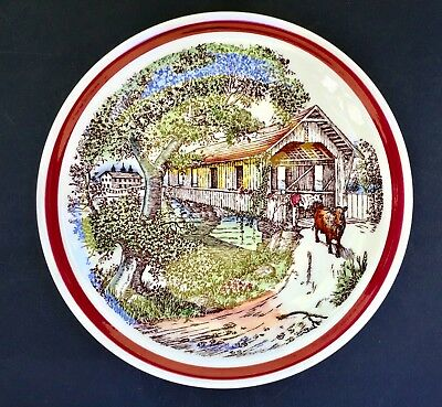 """Vernon Kilns """"Bits Of Old New England: The Covered Bridge"""" Collectors Plate 8.5"""""""
