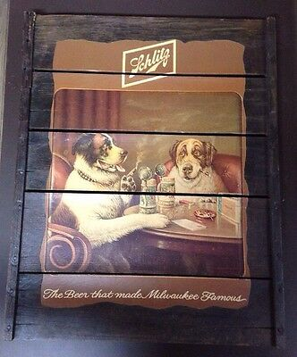 Vintage Schlitz Beer Wooden Dogs With Cigars Sign