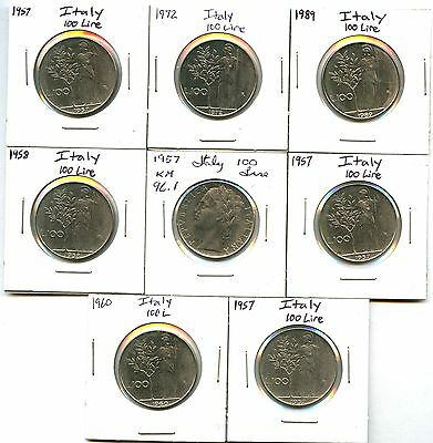 Lot of 13 1955 1956 1957 1958 1960 1963 1972 1989 Italy 100 Lire #103267 X R