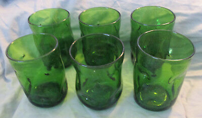 Blenko Tumblers - Set Of Six Emerald Green Hand Blown Dimpled Drinking Glasses