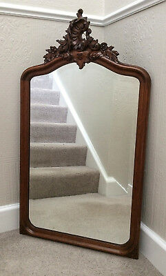 Antique French Carved Oak Crested Bevelled Edge Mirror