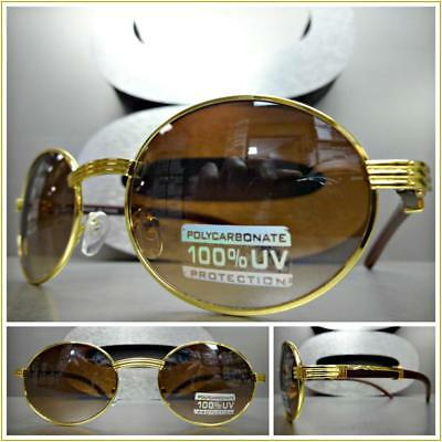 58f0f9ef89 Men s CLASSIC VINTAGE RETRO Style SUN GLASSES Classy Oval Gold Wood Wooden  Frame