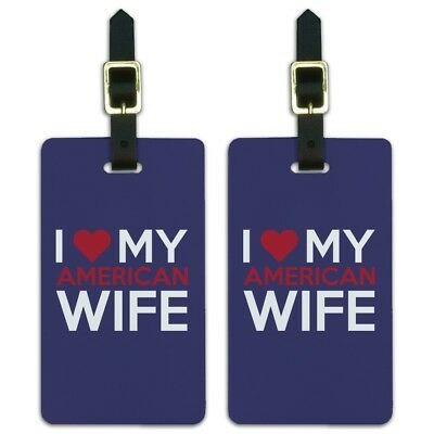 I Love My American Wife Luggage ID Tags Suitcase Carry-On Cards - Set of 2