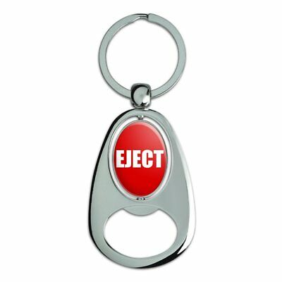 Red Eject Button Design Funny Chrome Metal Spinning Oval Bottle Opener Keychain