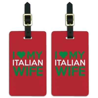 I Love My Italian Wife Luggage ID Tags Suitcase Carry-On Cards - Set of 2