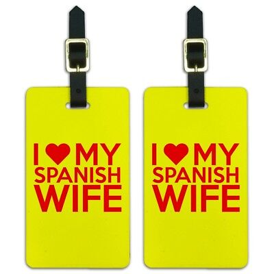 I Love My Spanish Wife Luggage ID Tags Suitcase Carry-On Cards - Set of 2