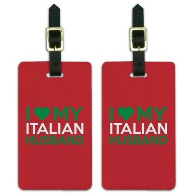 I Love My Italian Husband Luggage ID Tags Suitcase Carry-On Cards - Set of 2