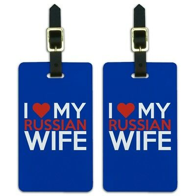 I Love My Russian Wife Luggage ID Tags Suitcase Carry-On Cards - Set of 2