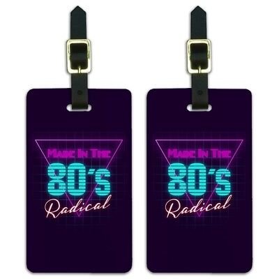 Made in the 80s Radical Luggage ID Tags Suitcase Carry-On Cards - Set of 2