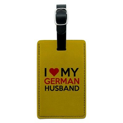 I Love My German Husband Rectangle Leather Luggage Card Suitcase Carry-On ID Tag