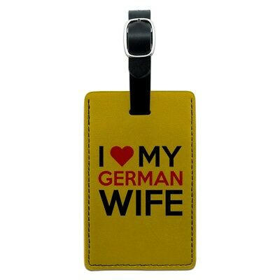 I Love My German Wife Rectangle Leather Luggage Card Suitcase Carry-On ID Tag