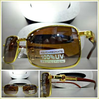 76801bb8b7 Men CLASSIC Sophisticated VINTAGE RETRO Style SUN GLASSES Gold Wood Wooden  Frame