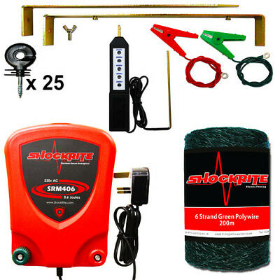Mains Electric Fence Energiser SRM406 0.6J Kit Green PolyWire Tester insulators