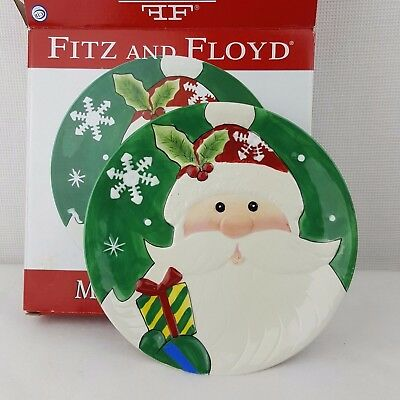 Fitz and Floyd Plate Merry Bright 3D Santa Christmas red green White Snowflake