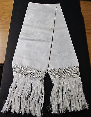 Antique ITALIAN 2 Linen Damask Fringed Show Towels Roses & Scrolls Never Used