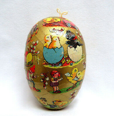 """1940's Vintage 4 1/2""""  West Germany Paper Mache Easter Egg Candy Box Container"""