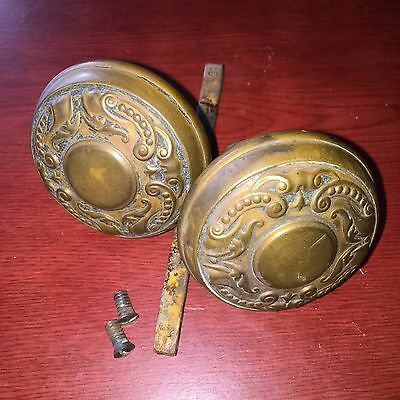 Antique Victorian Pair Of Twofold Holland Vernacular Brass Door Knobs