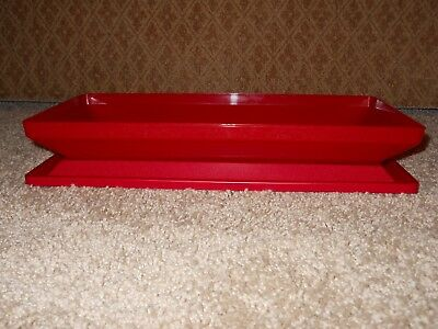 2 PC TUPPERWARE RED GET TOGETHER ACRYLIC Serving Storage Tray 1380 & Lid 1381