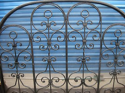 Indoor Black Iron One Section Fireplace Screen Beautiful Ornate Design