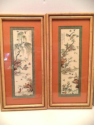Vintage Transart Oriental Asian Japanese prints bamboo frames 20x10 birds tree