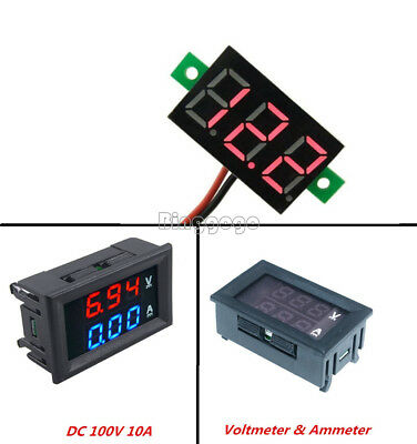 10A DC100V Voltmeter Ammeter Blue+Red LED Amp Dual Digital Red LED Voltage Meter